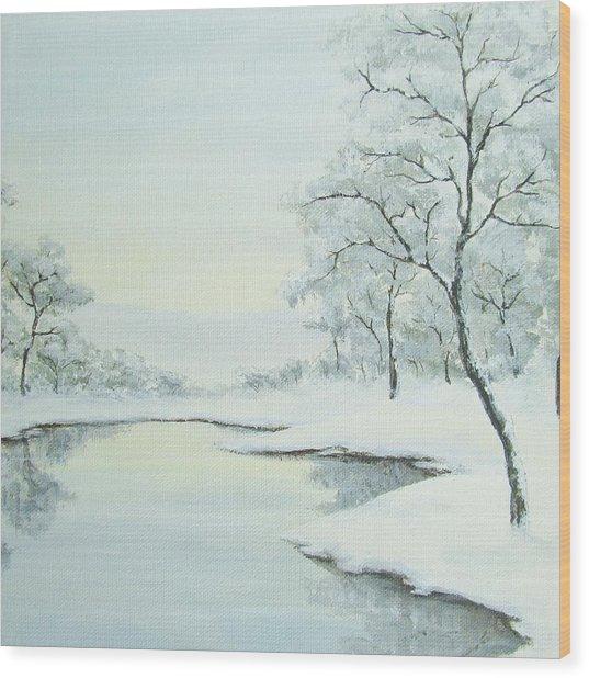Lakeside In Winter Wood Print by Anna Bronwyn Foley