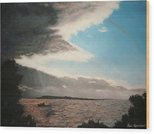 Lakeside Wood Print by Kim Cyprian