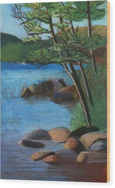 Wood Print featuring the pastel Lakeside Pines by Jane Croteau