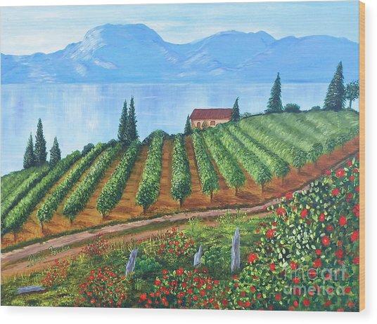 Lakeside Vineyard Wood Print