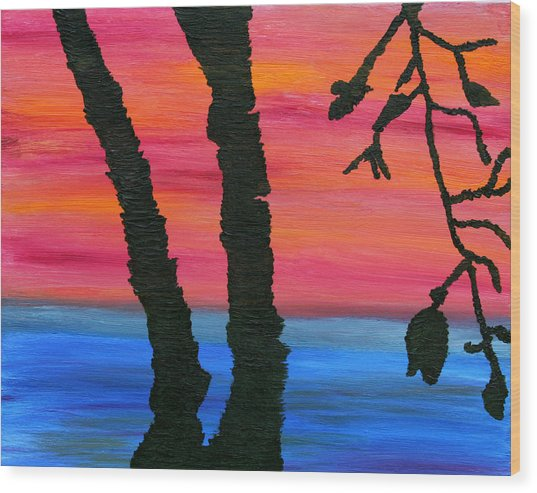 Lakeview Sunset Wood Print