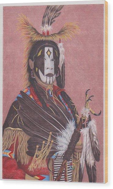 Lakota Indian Spirit Ceremonial Dress Wood Print by Billie Bowles