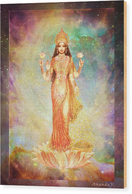 Lakshmi Floating In A Galaxy Wood Print by Ananda Vdovic