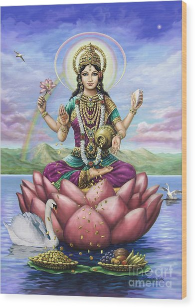 Lakshmi Goddess Of Fortune Wood Print