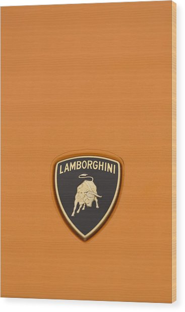 Lambo Hood Ornament Orange Wood Print