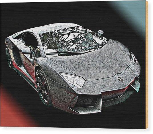 Lamborghini Aventador In Matte Black Finish Wood Print