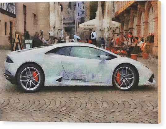 Lamborghini Huracane Lp 610-4 Parked In The City Wood Print