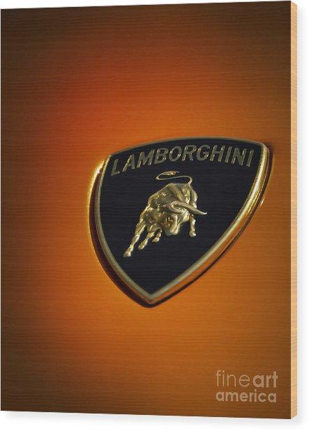 Lamborghini Murcielago Badge Emblem Wood Print