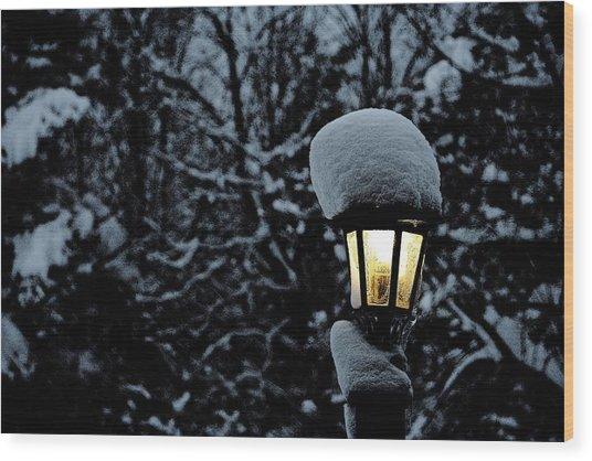 Lamp Light In Winter Wood Print by Carolyn Reinhart
