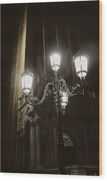 Lamp Light St Mark's Square Wood Print