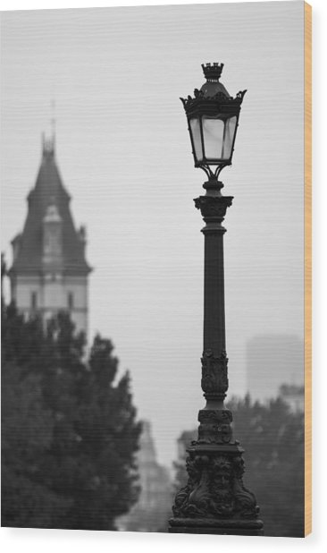 Lamppost At Pont Neuf Paris Wood Print