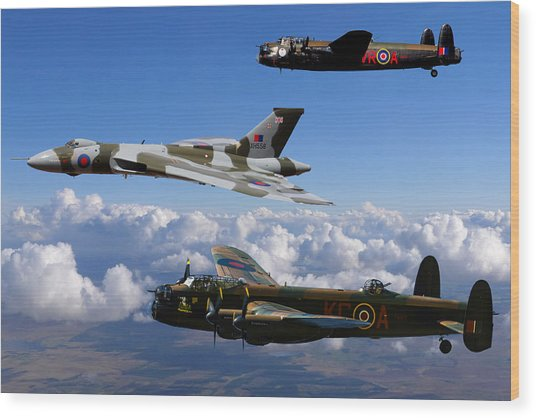Lancaster Bombers And Vulcan Xh558 Wood Print