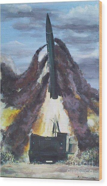 Lance Missile Launching Wood Print by Richard John Holden RA