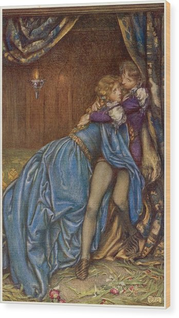 Lancelot And Guinevere  Together Wood Print by Mary Evans Picture Library