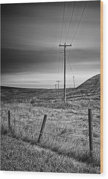 Land Line Wood Print