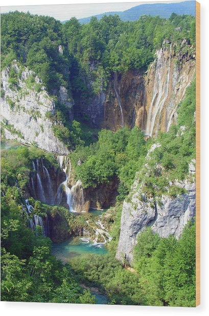 Land Of Falling Lakes Wood Print