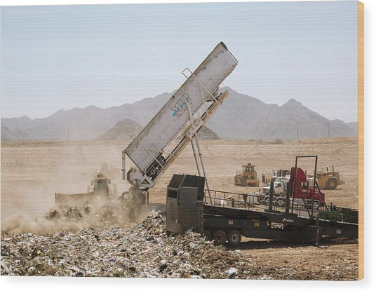 Landfill Waste Disposal Site Wood Print by Peter Menzel