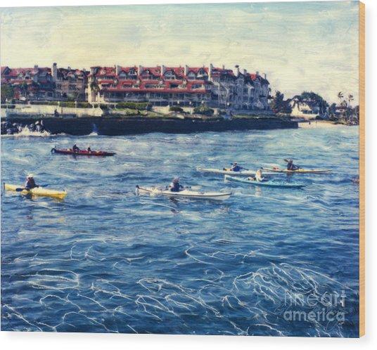 Landing Kayaking Wood Print