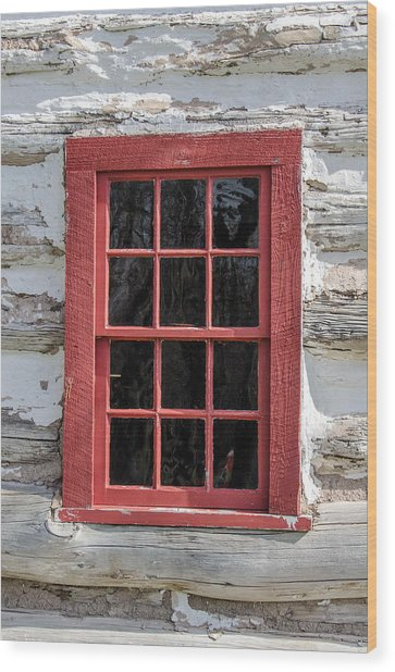 Landow Cabin Window Wood Print