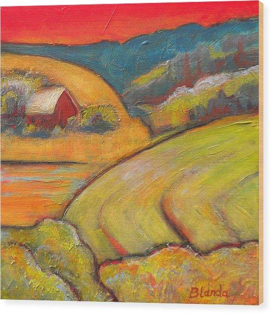 Landscape Art Orange Sky Farm Wood Print