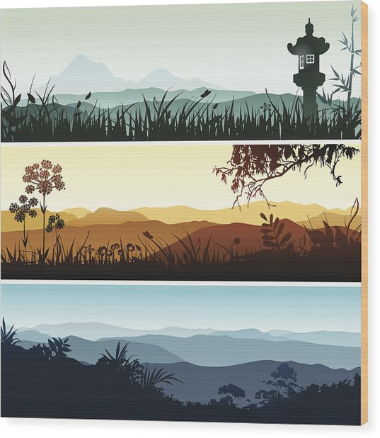 Landscape Banners Wood Print by Bettafish