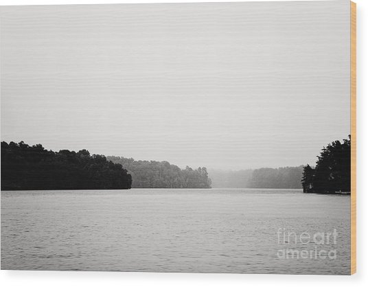 Landscape Black And White Fog Wood Print