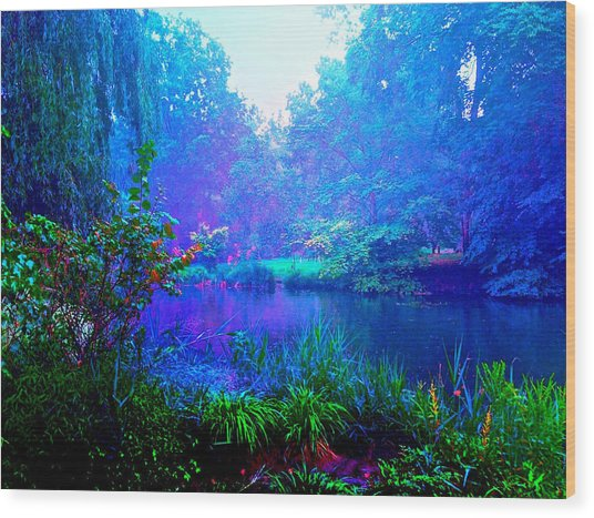 Blue Landscape Wood Print