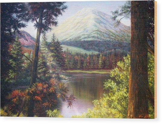 Landscape-lake And Trees Wood Print