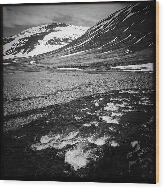 Landscape North Iceland Black And White Wood Print