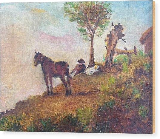 Landscape On A Ridge Wood Print