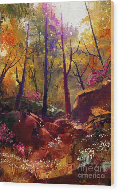 Landscape Painting Of Beautiful Autumn Wood Print