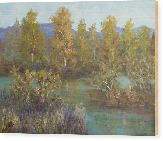 Landscape River And Trees Paintings Wood Print