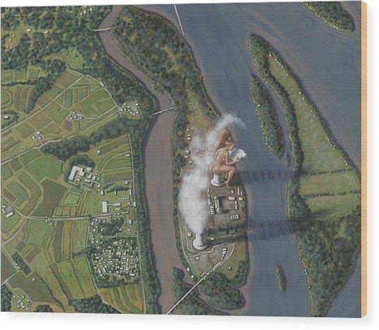 Landscape With Goddess Wood Print