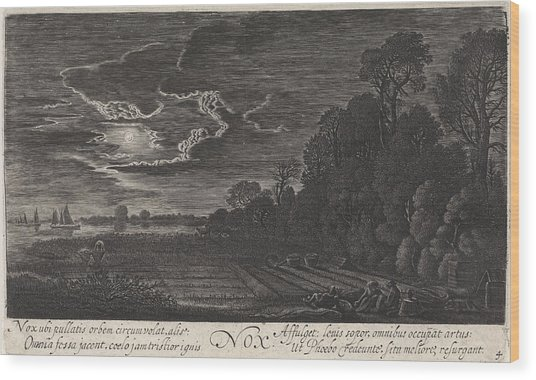 Landscape With Resting Bird Catchers Night Wood Print
