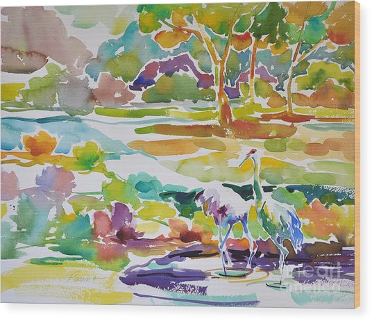 Landscape With Sand Hill Cranes Wood Print