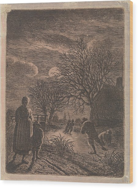 Landscape With Skaters, Johannes Christiaan Janson Wood Print