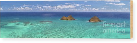Lanikai Beach From Above Panorama Wood Print