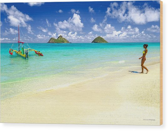Lanikai Beach Paradise Wood Print
