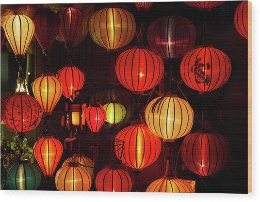 Lantern Shop At Night, Hoi An, Vietnam Wood Print by David Wall