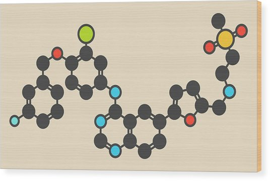 Lapatinib Cancer Drug Molecule Wood Print by Molekuul