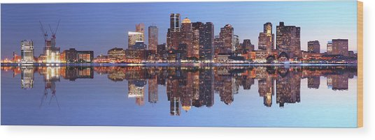 Large Boston City Panorama At Night Wood Print by Buzbuzzer