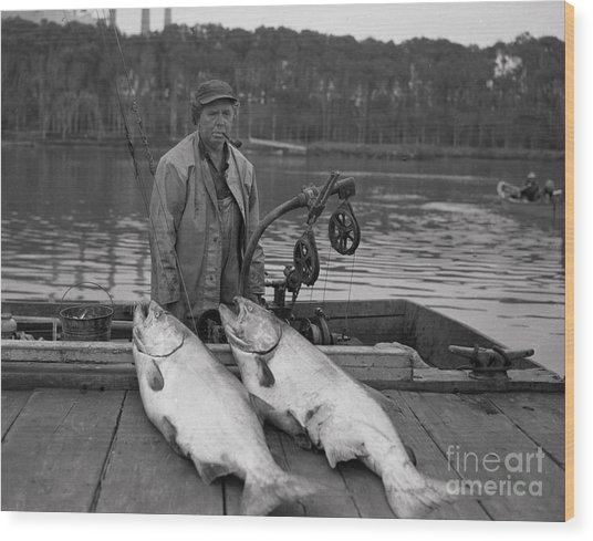 Large King Salmon Moss Landing Monterey California  Circa 1955 Wood Print