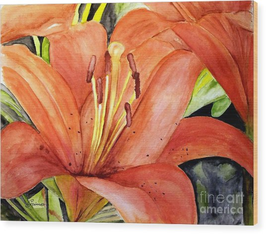 Large Orange Lily Wood Print
