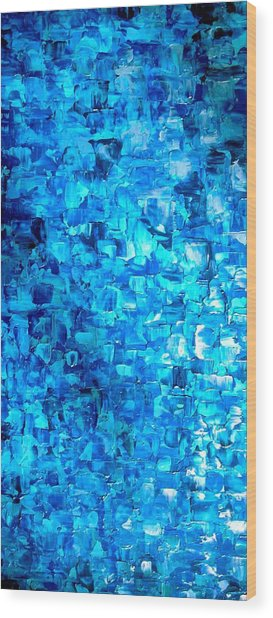 Large Wall Art Textured Painting Vertical Abstract Waterfall Wood Print