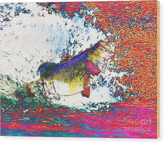 Largemouth Bass Wood Print by Wingsdomain Art and Photography