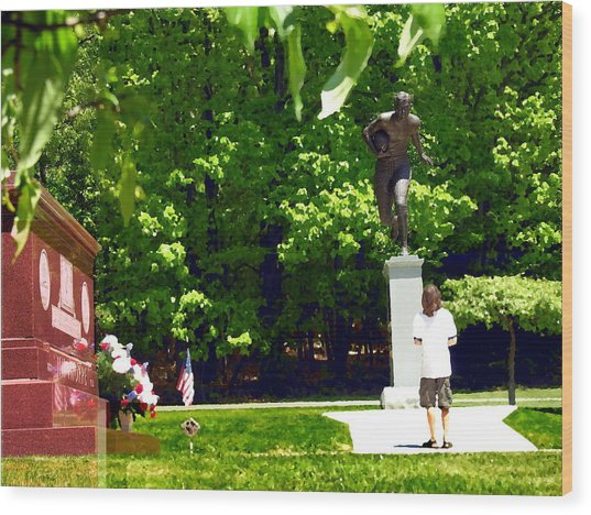 Larger Than Life - Jim Thorpe Monument Wood Print by Jacqueline M Lewis
