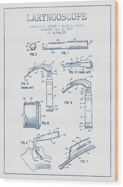 Laryngoscope Patent From 1989  - Blue Ink Wood Print by Aged Pixel