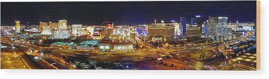 Las Vegas At Night - Panorama Wood Print