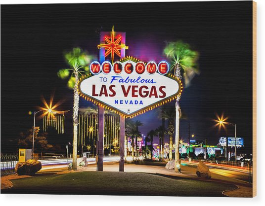 Las Vegas Sign Wood Print