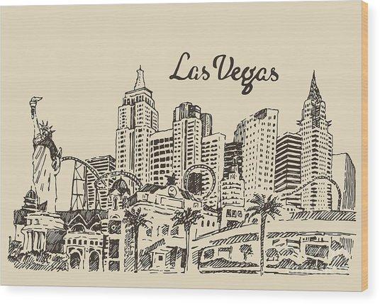Las Vegas Skyline, Big City Wood Print